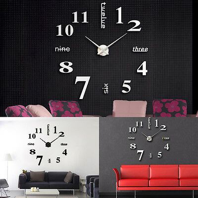 3D DIY Extra Large Numerals Mirror Wall Sticker Clock Home Decor UK.