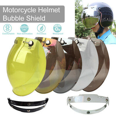 3 Button Flip Up Bubble Shaped Visor Lens for Retro Open Face Motorcycle Helmet