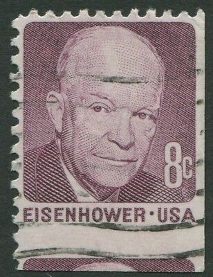 UNITED STATES OF AMERICA - 8c EISENHOWER - USED MISCUT BOOKLET STAMP (R01)