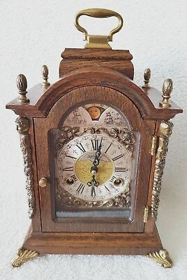 Mantel Clock Warmink Wubba Dutch Vintage Shelf Oak Moon Dial Engraved Movement