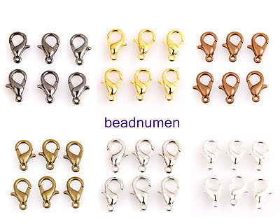 10x6mm,12x7mm,14x8mm,16x9mm Gold,Bronze,Silver Plt Lobster Parrot Clasp 6 color
