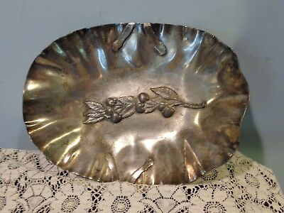 Footed Pairpoint Quadruple Plate New Bedford Raised  Fruit and Leaves