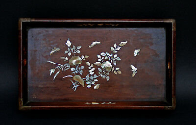 Antique Vietnamese Opium Tray - Wood Inlaid M.o.p. - French Flea Market Find
