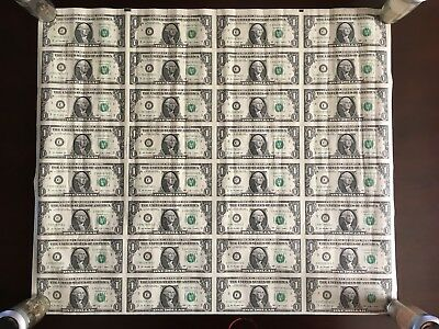 Uncut Sheet 32 - 2009 USA $1 Dollar Bills BANK NOTE  Perfect For Frame