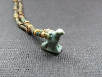 NILE  Ancient Egyptian Horus Amulet Mummy Bead Necklace ca 600 BC