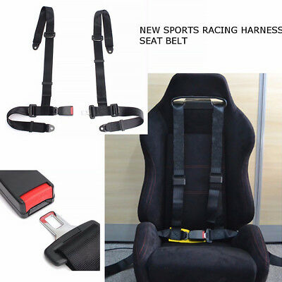 Nylon 4 Point Red Seat Belts Racing Adjustable Safety Harness Buckle Universal