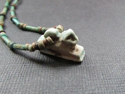 NILE  Ancient Egyptian Ram Amulet Mummy Bead Necklace ca 600 BC