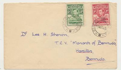 BASUTOLAND TO BERMUDA 1938 TO PASSENGER ON T.E.V. MONARCH, 1½d RATE (SEE BELOW)