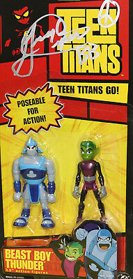 "SIGNED by Beast Boy/Greg Cipes! Teen Titans Beast Boy and Thunder! 3.5"" Figures!"