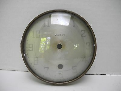 """Antique Vintage 5.6"""" Waterbury Conn. Clock Dial Door with Curved Glass"""