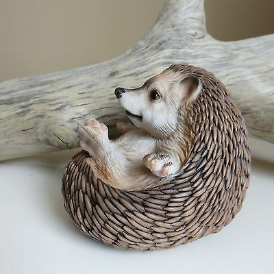 Hedgehog Figurine Curled Up Resin Statue Ornament New Animal 4.5 in.