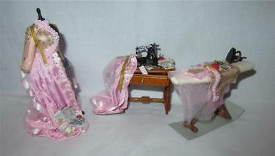 Miniature Dollhouse 1:12 Scale Pink Sewing Set In Progress 104A - Artist Piece