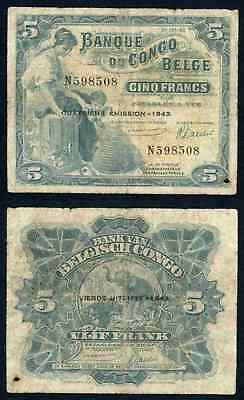 1943 Bank of Belgian Congo Five Francs Banknote Pick# 113Ab VG Currency Note