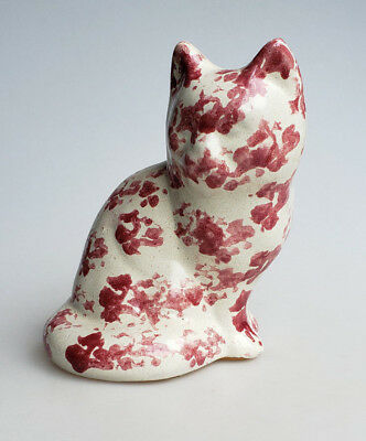 Bybee Pottery pink and white spongeware cat figurine sculpture 7 inches tall