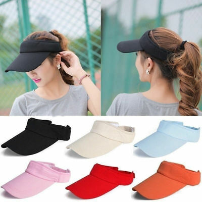 Men Women Plain Visor Outdoor Adjustable Sun Cap Sport Golf Tennis Beach Hat