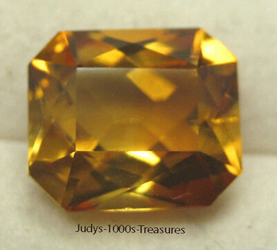 CITRINE EMERALD CUT LOOSE 9.99 x 8.56 x6.11mm. 3.53ct. WILD HONEY COLOR
