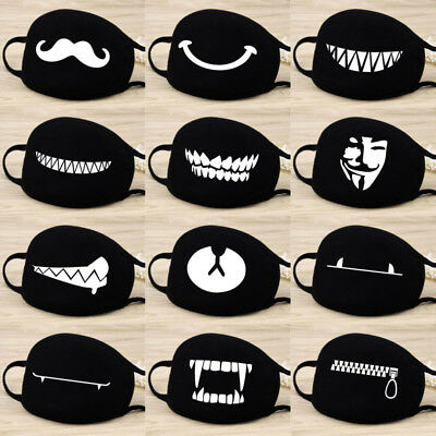 Adult Unisex Black Anti-Dust Cotton Mouth Face Mask Half Masks Outdoor Cycling.