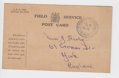 WW1 Field Service Post Card to York 1917 APO S75 Acheux France 'I am well'