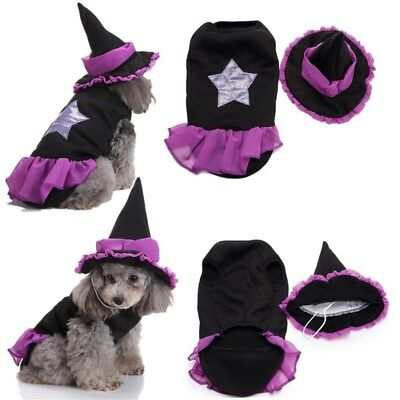 Puppy Pet Small Dog Cat Costume Clothes Halloween Christmas Witch Fancy Dress