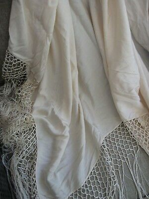 Antique 1900s cream silk 125cm square SHAWL - CLOTH 44cm deep knotted fringe af