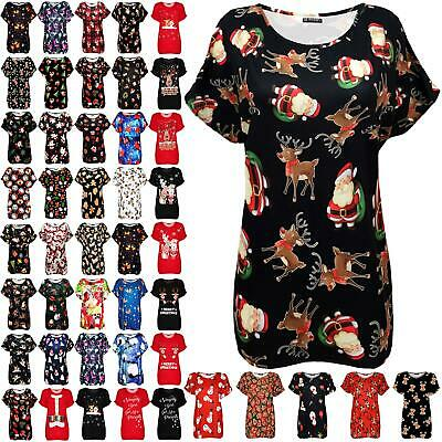 Womens Ladies Christmas Xmas Snowman Scarf Baggy Oversized Batwing T Shirt Top