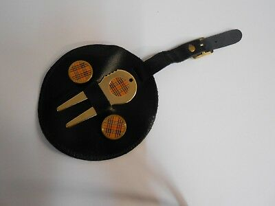 Leather Golf Bag Tag with Gilt Tee Marker. *Black* Gift, Made in England