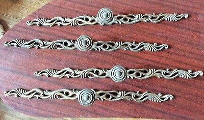 4 Vtg Round Dresser Drawer Pulls Antique Eastlake Victorian Handles Brass Ornate