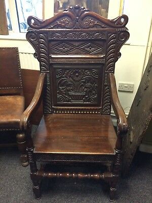 Vintage 1950's 17th C Style Oak Carved Back Panelled Arm Chair