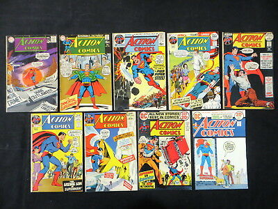 Action Comics #368 385 398 403 409-411 414 428 9 Issue Silver Age Lot Superman