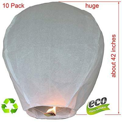 Nuluphu Sky Lanterns 10-Pack, Fully Assembled and100% Biodegradable (No (White)