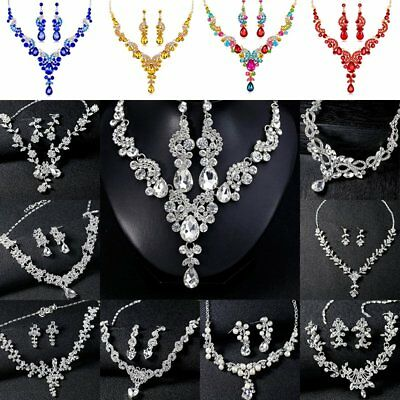Women Wedding Bridal Rhinestone Necklace Earring Jewelry Set Costume Party Gift