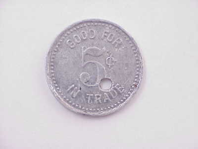 SUPER RARE! Jefferson Barracks Missouri Post Exchange 5 Cents in Trade Token