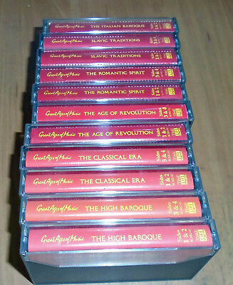 """Time Life - """"Great Ages of Music"""" 10 cassettes with Booklet - LIKE NEW!"""