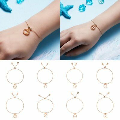 Unisex 12 Constellation Zodiac Round Adjustable Chain Bangle Bracelet Jewelry