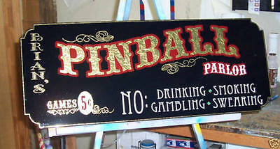 Old Fashioned Custom Pinball Parlor Sign, Gold leaf very Nice Wooden Sign