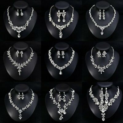 Fashion Women Rhinestone Crystal Earrings Necklace Wedding Bridal Jewelry Set