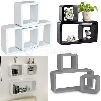 Set of 3 CUBE Rectangle Wall Mounted Shelves Floating Shelf Bookcase Hanging New