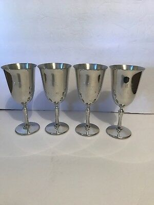 4 Vintage Beautuful Silver Revere Pewter Goblets. Pre-owned.