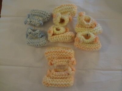Vintage lot of 4 pairs crochet baby or doll booties pink & blue handmade