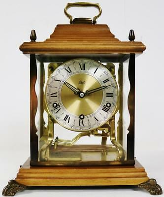 Vintage Schatz 8 Day 3 Train Walnut & Glass Triple Chime Musical Mantel Clock