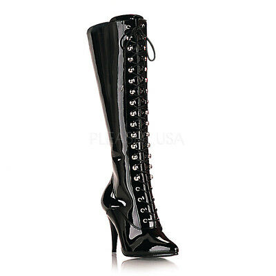 Black Latex Fetish Lace Up Knee High Boots Mens Drag Queen Woman size 13 14 15
