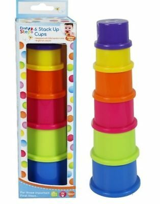 First Steps Pack Of 6 Bright Coloured Stacked Up Cups Ideal For Over 6 months UK