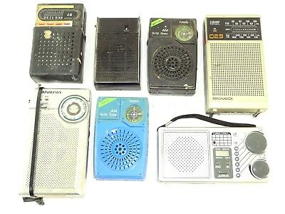 7 VTG Pocket Transistor Radios Mixed Lot Lifelong Magnavox Soundesign GE Mason +