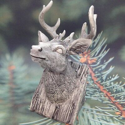 ELK BUST FIGURINE Faux Carved Stone Resin Lodge Cabin Gift Decor C