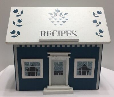 Vintage Wooden Recipe Box Blue And White House