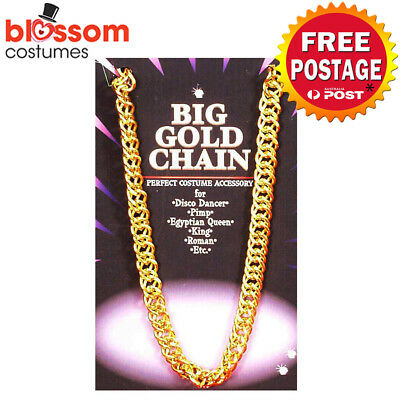 AS251 Gold Chunky Pimp 100cm Necklace Chain Rapper Hip Hop Bling 90s 80s Costume