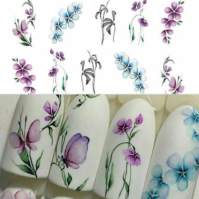 3Sheets Flower Butterfly Nail Art Water Transfer Decals Purple Stickers Decor /B
