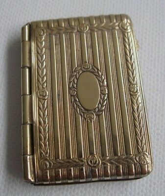 antique Edwardian brass POSTAGE STAMP HOLDER  CASE fob chain attachment
