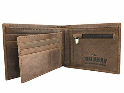 Real Leather Mens Wallet With Coin Pocket. Slim, Bifold, 9 Credit Card Holder, 2