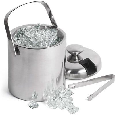Double Walled Ice Bucket With Tongs Inside Lid 1.5ltr Insulated Stainless Steel